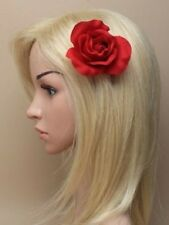 LADIES RED HEAD HAIR FASCINATOR 6120 HAT WEDDING RACES FLOWER ROSE BOHO