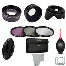 55MM Vivitar WIDE ANGLE LENS + TELEPHOTO ZOOM LENS + FILTER KIT FOR LUMIX FZ70