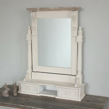 Cream Wooden Dressing Table Mirror Drawers Shabby French Chic Bedroom Make Up