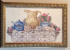 Tea Set With Lace  Finished And Framed Cross Stitch