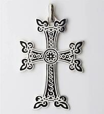"XTRA LARGE ARMENIAN CROSS STERLING SILVER w/ ENAMEL 2 3/4"" TALL  U.S.A. SELLER!"