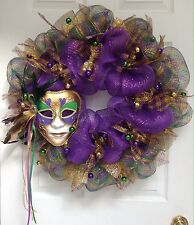 Purple and Gold Featured Mardi Gras Mask Deco Mesh Wreath