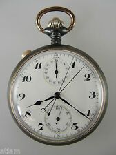 Clean Gunmetal SPLIT SECONDS RATTRAPANTE Chronograph Pocket Watch c1910