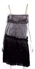 BALENCIAGA Metallic Silver Woven & Lurex Ruffled Cocktail Dress 40