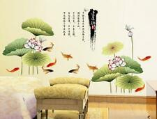 Chinese Painting Lotus Fish Home Room Removable Wall Sticker Decal Decoration