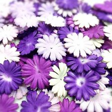 100 Mixed Purple Tone & White Daisy Flowers mulberry paper for Craft & DIY