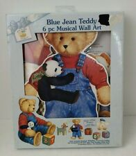 Blue Jean Teddy 6 Pc Musical Wall Art Vintage Unopened New