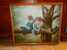 VTG MID CENTURY OIL ON CANVAS BOY & GIRL PLAYING WITH SQUIRREL, SIGNED, FRAMED