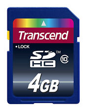 5 Pack Transcend Secure Digital 4GB SD SDHC Class 10 Memory Card, TS4GSDHC10