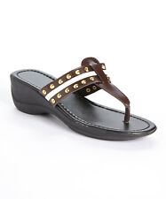 Brown White Studded Contrast Sandal Califootwear DOK Shoes Size 8