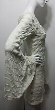 BEBE Quilted Dress Embellished Body Contour Stretch Crochet Bell Sleeves Sz Sm