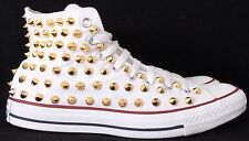 Converse allstar stM7650C White Canvas Gold Studded Spikes Hi Men's 7.5 Wmn