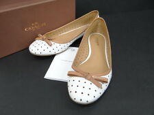 Auth Coach New York Ladies Flat Shoes Punching Leather White 13120279000 8317X