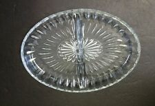 """Vintage Heavy Oval Divided Glass Relish Tray 9.5"""""""