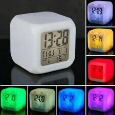 7 LED Color Change Digital Alarm Thermometer Clock With 4 AAA Batteries Free