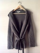 Boden Ladies Grey Chunky Knit Wool Alpaca Blend Wrap Belted Cardigan size UK 10