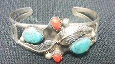 Vintage Sterling Silver Turquoise & Coral 20.7g Cuff Bracelet #2 FAST DELIVERY