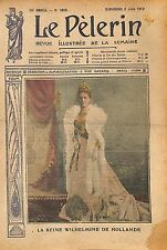 Portrait Wilhelmina Netherlands Wilhelmine reine des Pays-Bas 1912 ILLUSTRATION