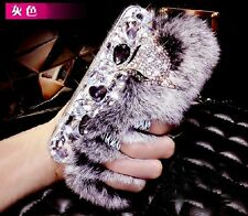 3D Luxury Bling Crystal Diamonds Fox Soft Warm Rabbit Fur Furry Phone Case Cover