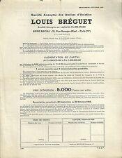 Bulletin souscription Bréguet 1955 aircraft Aéronautique avion Plane action RARE