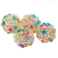 24pcs Mixed AB Colorful Resin Rhinestones Spacer Bead Findings Charms Handmade D