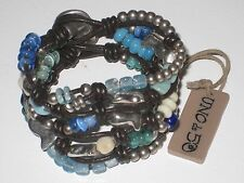 "UNO DE 50 HANDCRAFTED ""ENREDADOS""  BRACELET WITH  BLUE+SILVER BEADS,CHARMS  NWOT"