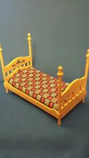 Vintage doll house furniture 4 POSTER BED w mattress pad marked TOMY Japan 5""