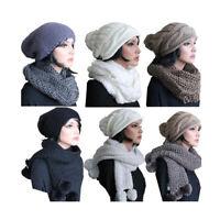 SET - Mütze + Schal  -  Schlauchschal Strickschal mit Beanie Winter Bommel Damen