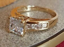 14k solid Yellow Gold 2 ct Princess Engagement Ring Size 5 6 7 8 9 10