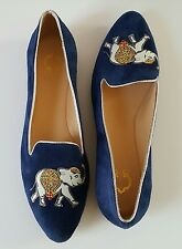 C Wonder 7M CARLY Blue Leather Elephant Embroidered Flats Shoes Slippers Loafers