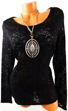 MAURICES BLACK FLORAL LACE SEE THROUGH SEQUIN LONG SLEEVE SCOOP NECK TOP 2,2X