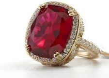 "Jean Dousset SS 14ct Absolut Cushion-Cut Ruby Pavé Frame ""Feather"" Cocktail Ring"
