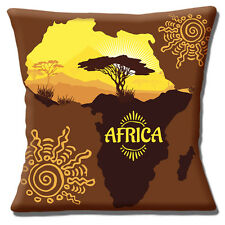 "AFRICAN MAP ETHNIC DESIGN YELLOW BROWN SHADES PRINTED 16"" Pillow Cushion Cover"