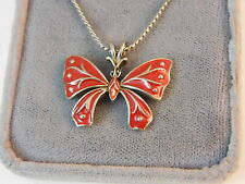"""Vintage signed D'orlan Red Enamel Butterfly Pendant 17"""" Chain Necklace 8k 33"""