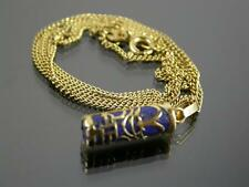 VINTAGE 18ct GOLD LAPIS LAZULI PENDANT & 18ct GOLD NECKLACE CHAIN C.1980
