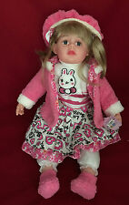 LARGE 60CM DOLL WITH HAIR PINK FLEECE OUTFIT HAT GIRLS BIRTHDAY PARTY TOY GIFT