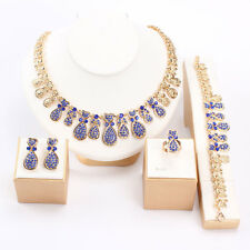 Fashion Women Rhinestone Crystal Necklace Bracelet Earrings Ring Jewelry Set