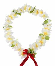 Hawaiian Lei Party Luau Floral Princess Plumeria Silk Dance Flower White YEL HRT