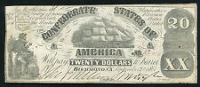 1861 $20 TWENTY DOLLAR CSA CONFEDERATE STATES OF AMERICA CURRENCY NOTE T-18