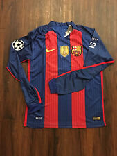 New Messi Barcelona Home Champions League Patch Adult Long Sleeve Jersey Medium