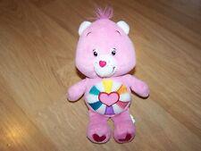 """9"""" Hopeful Heart Care Bear Bean Bag Plush Stuffed Animal Pink Heart Tummy 2006"""