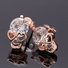 1 Pair Skull Shining Rose Gold Ear Drop Ear Stud Earrings Jewelry Accessories
