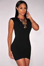New Sexy Black Scoop Back Mini Bodycon Wrap Dress Dance Club Party Stripper 2320