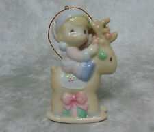 2001 Precious Moments Porcelain Reindeer Rocking Horse CHRISTMAS ORNAMENT Figure