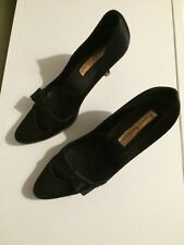 Rupert Sanderson black satin bow kitten heel shoes courts pumps UK size 5 EU 38
