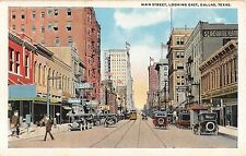 c.1920 Early Cars Stores Main St. looking East Dallas TX post card