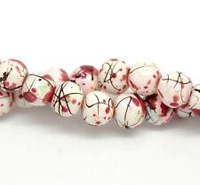 100 X Bianco Chiazzato in Vetro Rotondo Loose Beads Craft Gioielli - 6mm-b20088 *