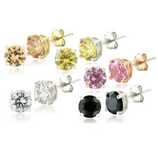 Set of 5 Multi Color Cubic Zirconia Stud Earrings