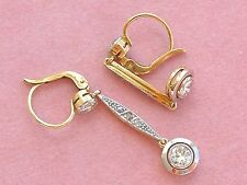 "ANTIQUE ART DECO 1.03ctw DIAMOND PLATINUM 18K COCKTAIL DANGLE 1.5"" EARRINGS 1930"