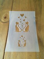 Love Cats Mylar Reusable Stencil Airbrush Painting Art Craft DIY Home Decor